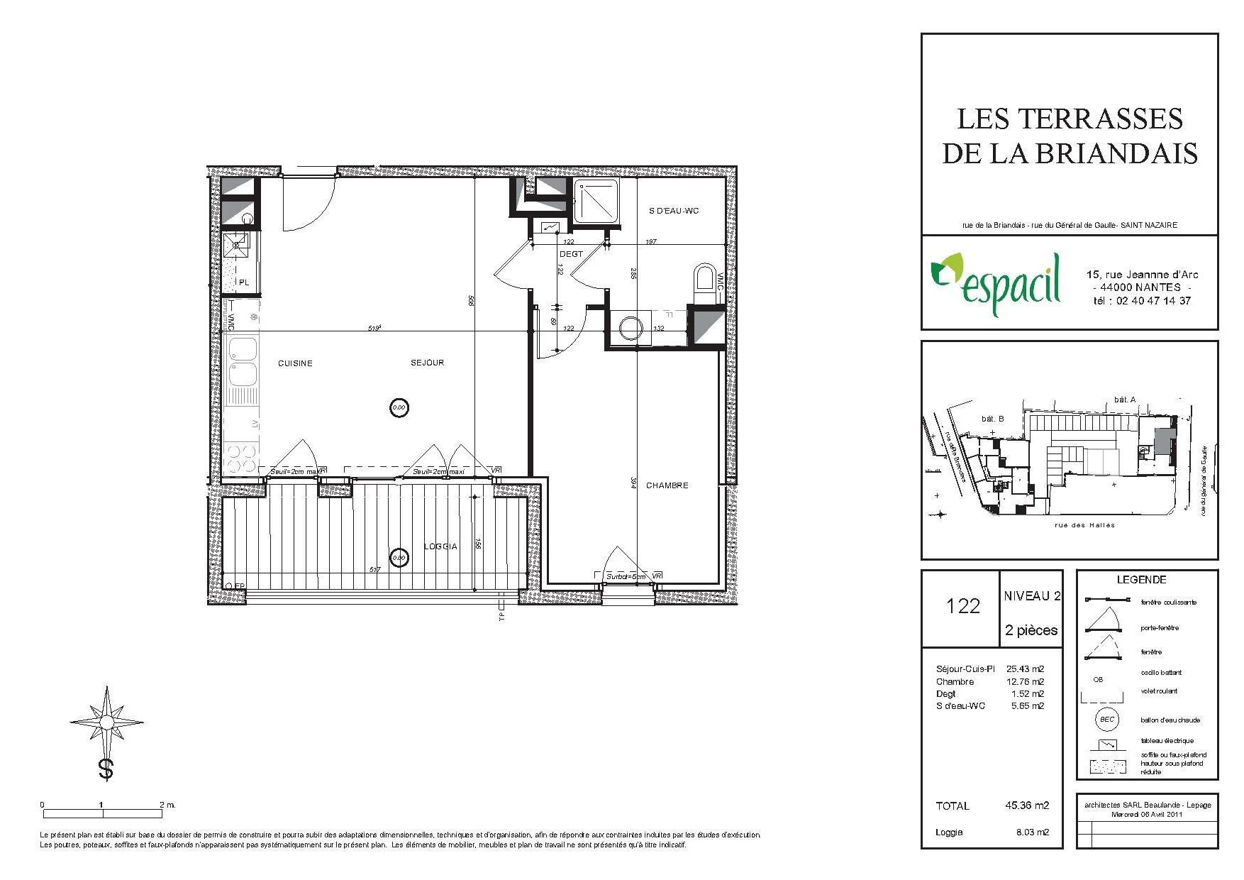 appartement t2 les terrasses de la briandais saint nazaire. Black Bedroom Furniture Sets. Home Design Ideas