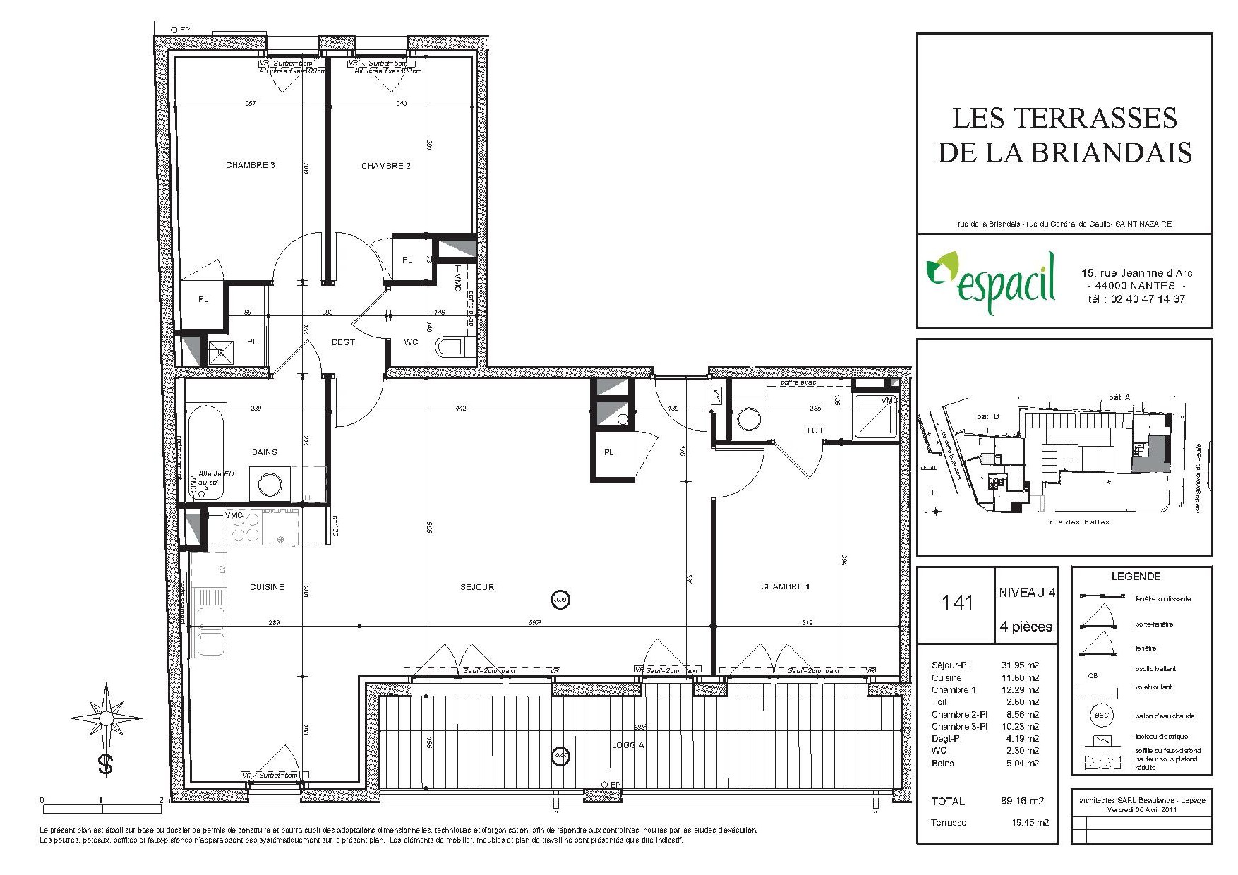 Appartement t4 les terrasses de la briandais saint nazaire for Plan appartement